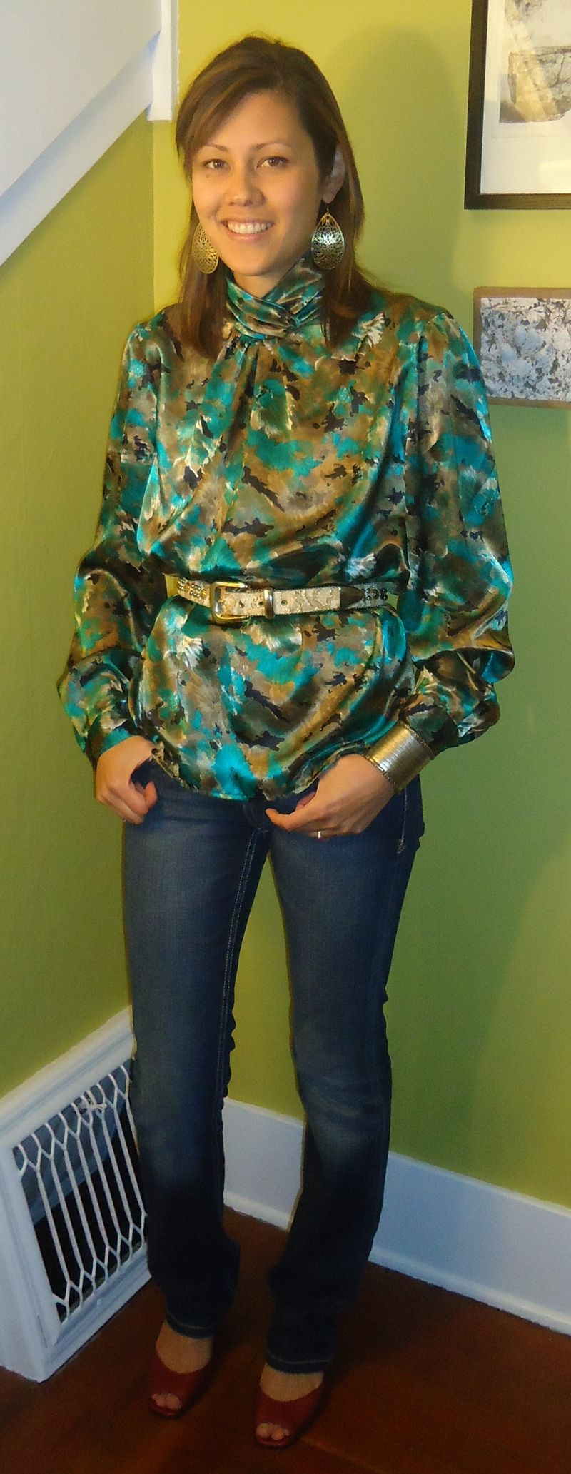 Green gold blouse