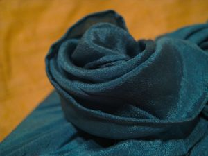Vintage silk giftwrap flower closeup