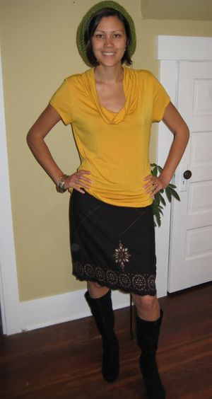 Yellow top and cutout skirt