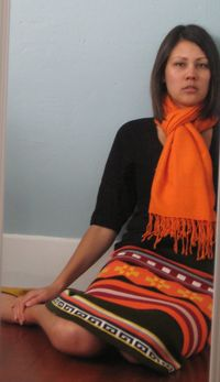 Orange sweater skirt3